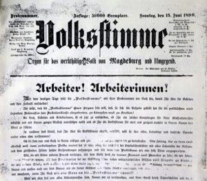 Volksstimme Titelseite 1890