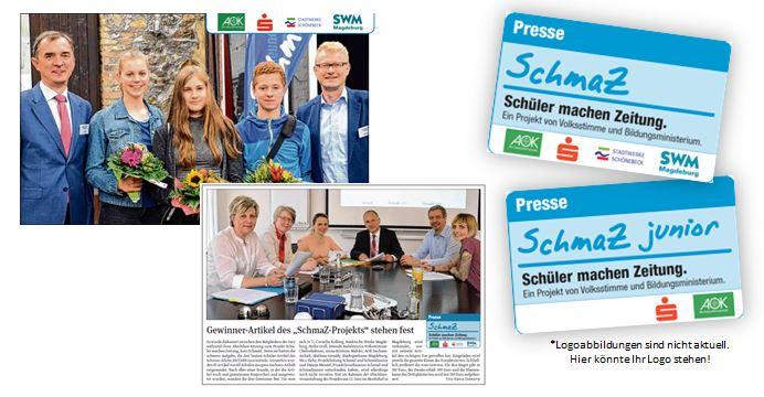 Artikel, SchmaZ-Presseausweise und Logos von Partnern