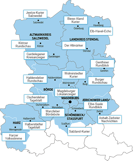 Das Verbreitungsgebiet der Volksstimme