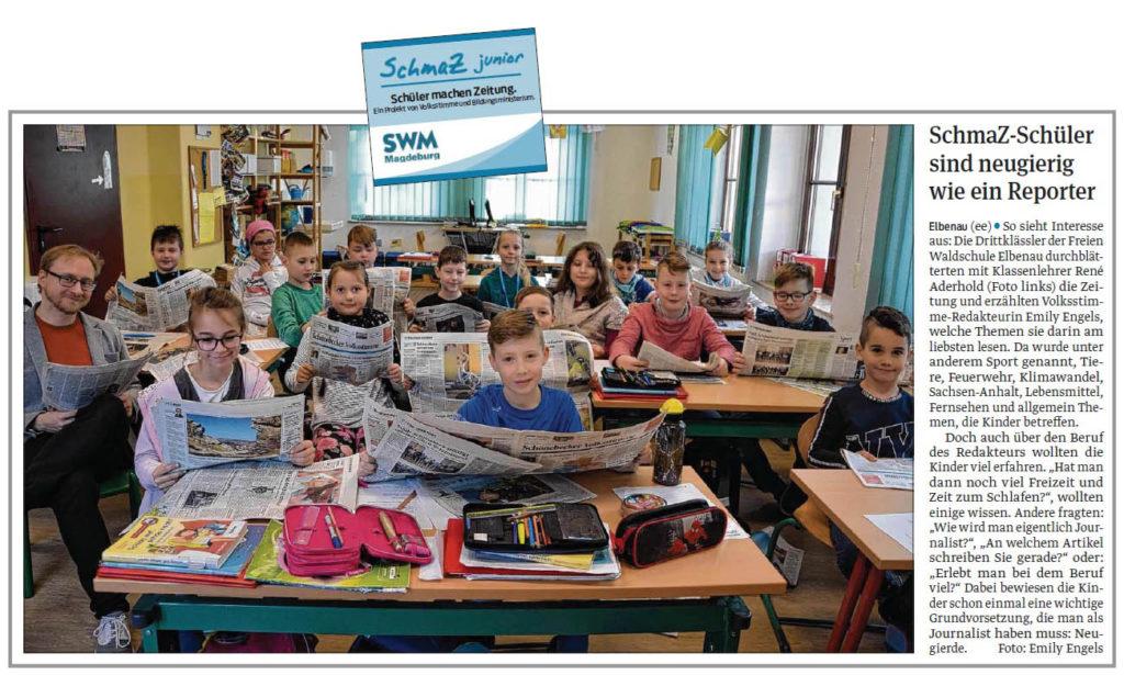 SchmaZ junior: Ansicht Volksstimme-Artikel über die Freie Waldschule Elbenau