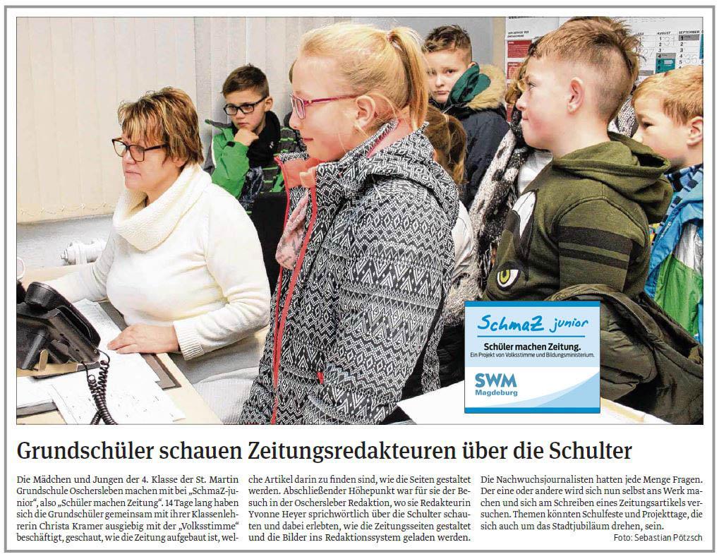 SchmaZ junior: Ansicht Volksstimme-Artikel über die St. Martin Grundschule Oschersleben