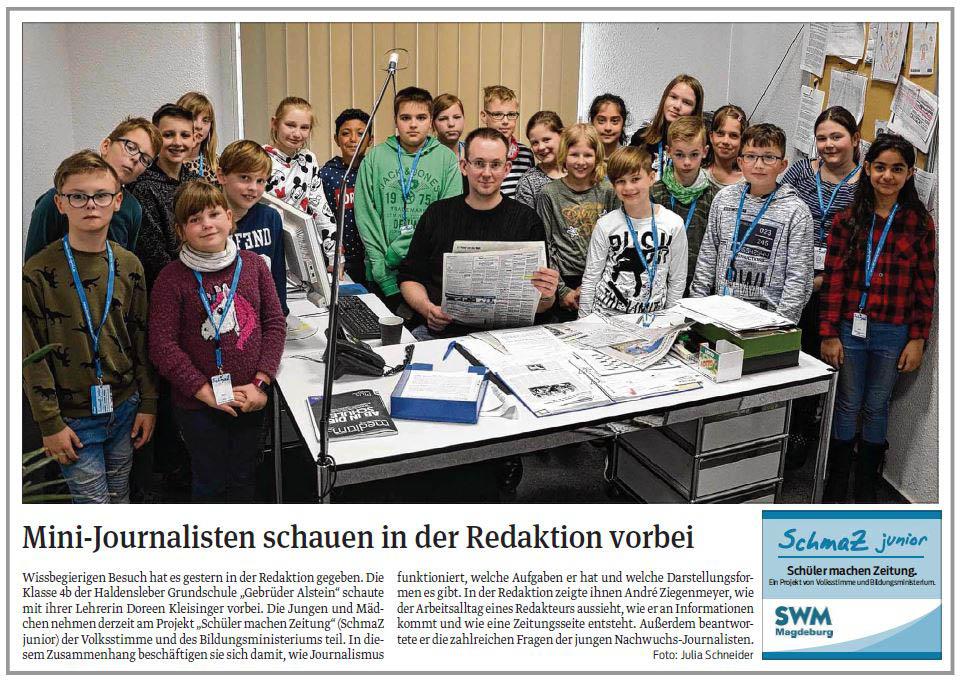 """SchmaZ junior: Ansicht Volksstimme-Artikel über die Grundschule """"Gebrüder Alstein"""" Haldensleben"""