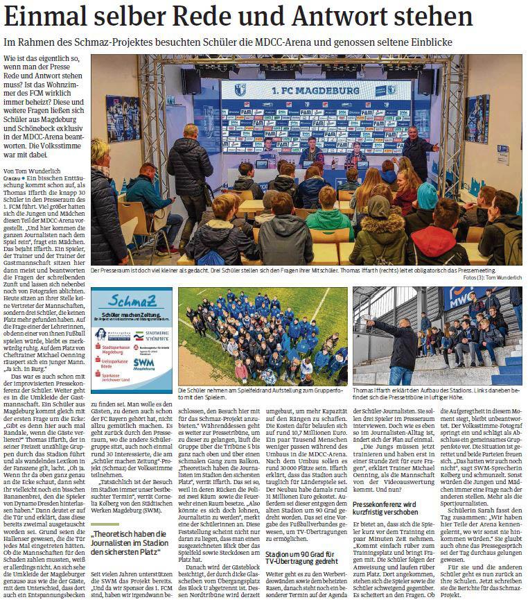 SchmaZ: Ansicht Volksstimme-Artikel über den Termin beim 1. FC Magdeburg