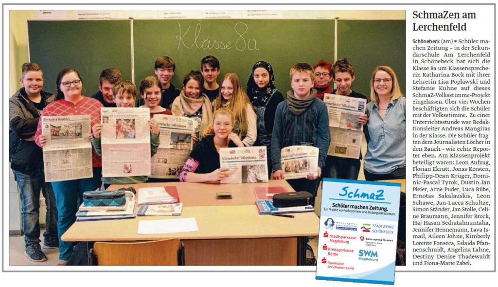 SchmaZ: Ansicht Volksstimme-Artikel über die Sekundarschule Am Lerchenfeld Schönebeck
