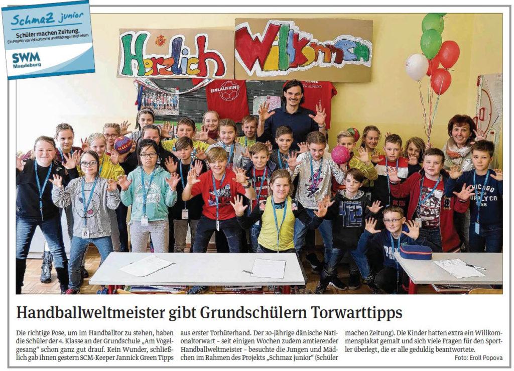 """SchmaZ junior: Ansicht Volksstimme-Artikel über die Grundschule """"Am Vogelgesang"""" Magdeburg"""