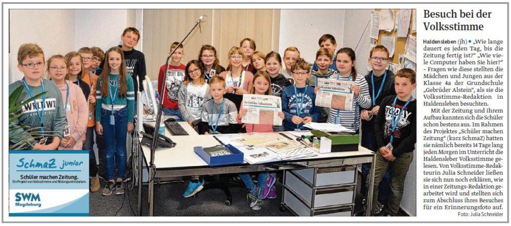 SchmaZ junior: Ansicht Volksstimme-Artikel über die Grundschule Gebrüder Alstein