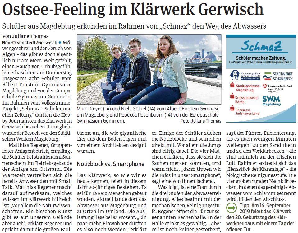 SchmaZ: Ansicht Volksstimme-Artikel über den SWM Termin beim Klärwerk Gerwisch.
