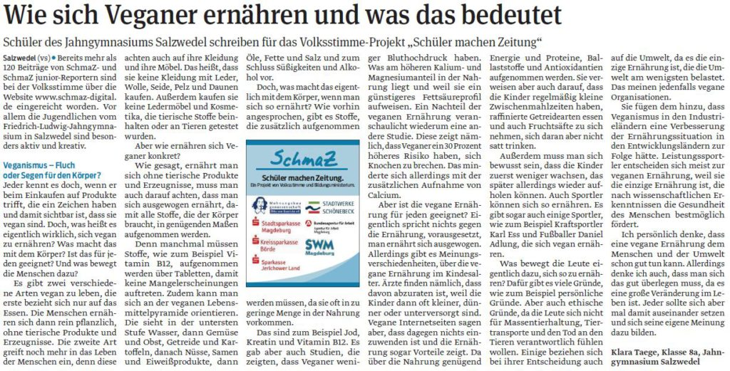 SchmaZ: Ansicht Schüler-Artikel von Klara Taege vom Jahn-Gymnasium Salzwedel
