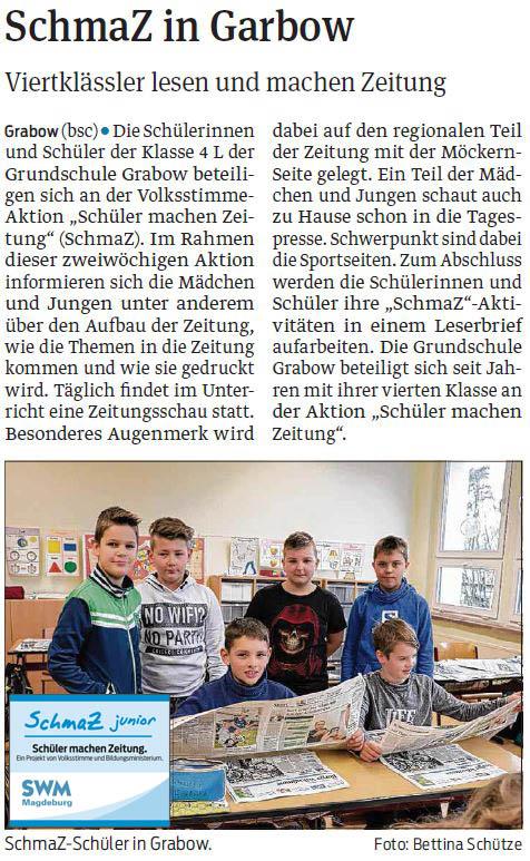 SchmaZ junior: Ansicht Volksstimme-Artikel über die Grundschule Grabow