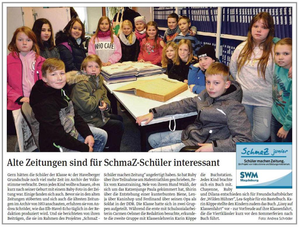 SchmaZ junior: Ansicht Volksstimme-Artikel über die Grundschule Havelberg