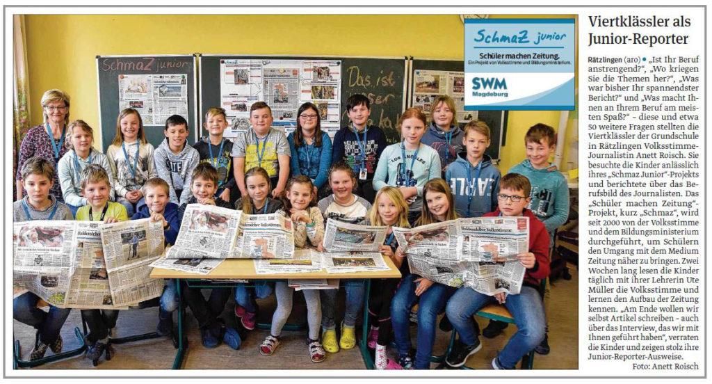 SchmaZ junior: Ansicht Volksstimme-Artikel über die Grundschule Rätzlingen