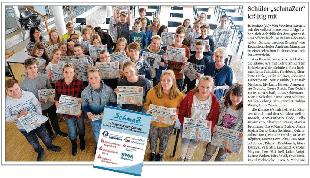 SchmaZ: Ansicht Volksstimme-Artikel über das Gymnasium Schönebeck