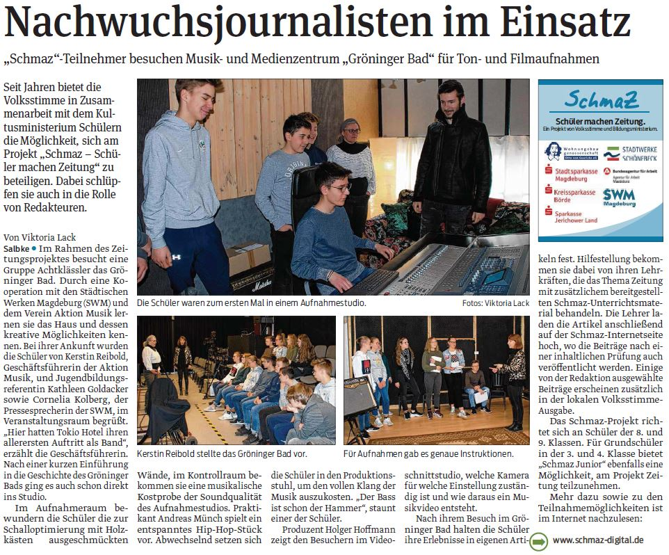SchmaZ: Ansicht Volksstimme-Artikel über den SWM Termin im Gröninger Bad Magdeburg.