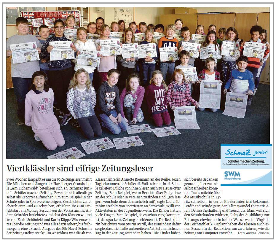 """SchmaZ junior: Ansicht Volksstimme-Artikel über die Grundschule """"Am Eichenwald"""" Havelberg"""