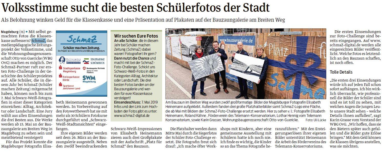 SchmaZ: Ansicht Volksstimme-Artikel über den Pressetermin mit Elisabeth Heinemann an der Bauzaungalerie
