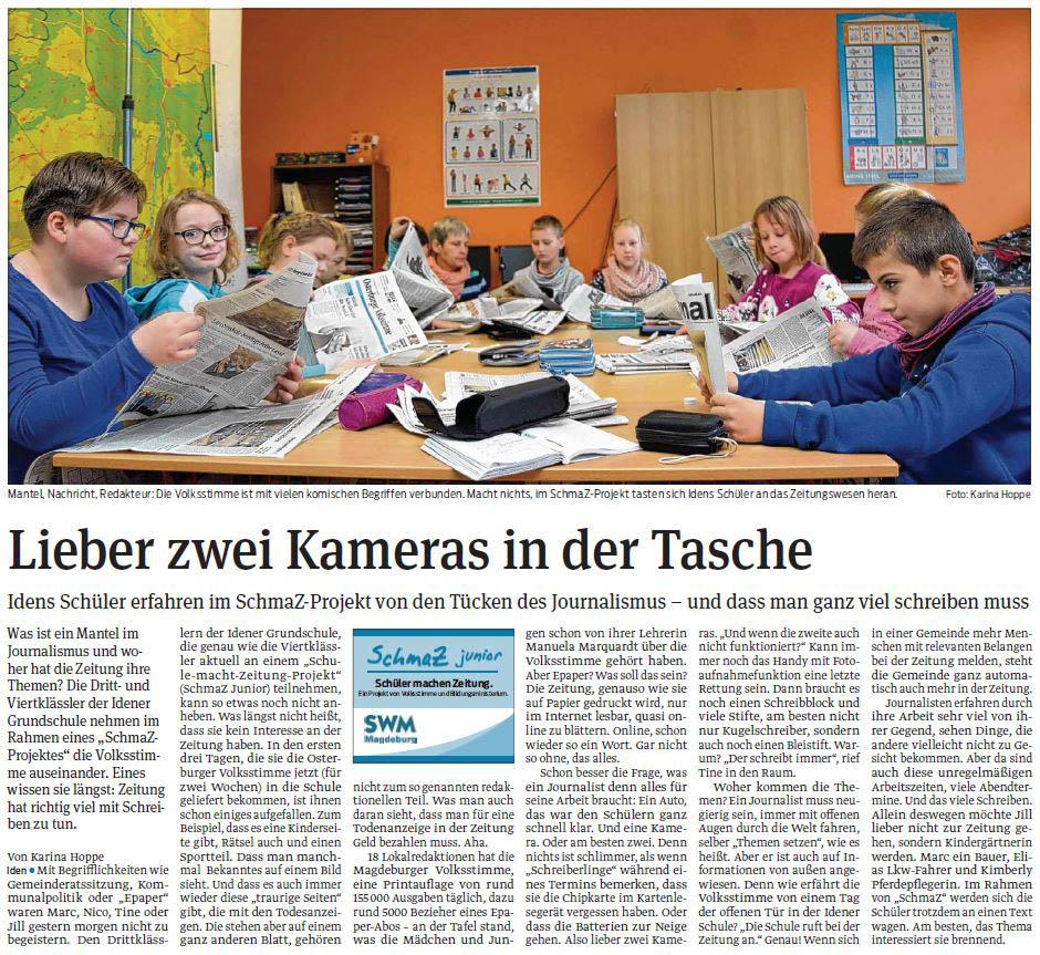 SchmaZ junior: Ansicht Volksstimme-Artikel über die Grundschule Iden