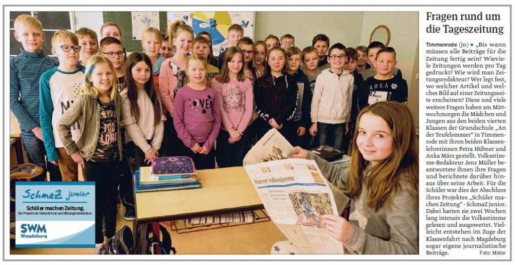 """SchmaZ junior: Ansicht Volksstimme-Artikel über die Grundschule """"An der Teufelsmauer"""" Timmenrode"""