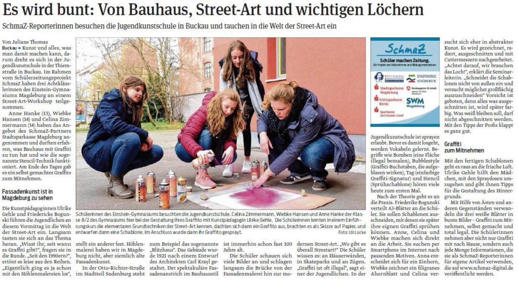 SchmaZ: Ansicht Volksstimme-Artikel über den Termin in der Jugendkunstschule