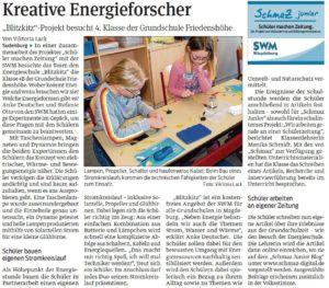 SchmaZ junior: Ansicht Volksstimme-Artikel über den Termin zur SWM Energieschule BlitzKitz