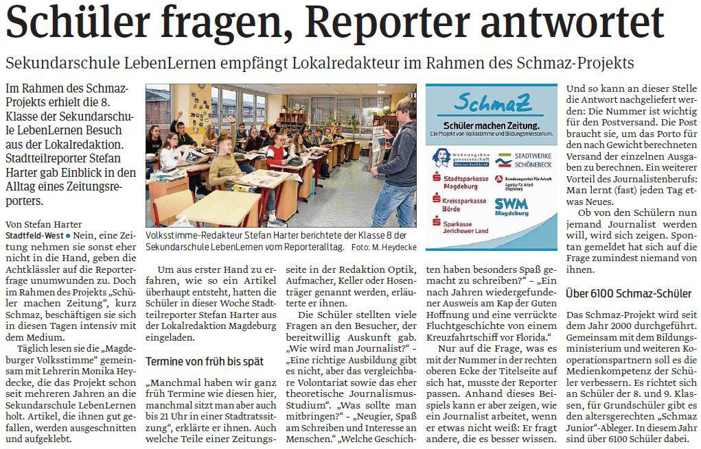 SchmaZ: Ansicht Volksstimme-Artikel über die Sekundarschule LebenLernen Magdeburg