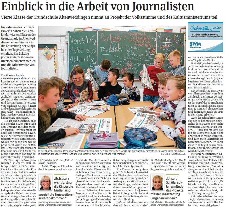 SchmaZ junior: Ansicht Volksstimme-Artikel über die Grundschule Altenweddingen