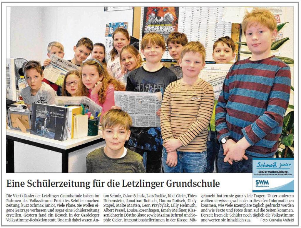 SchmaZ junior: Ansicht Volksstimme-Artikel über die Grundschule Letzlingen