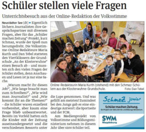 """SchmaZ junior: Ansicht Volksstimme-Artikel über die Grundschule """"An der Klosterwuhne"""" Magdeburg"""