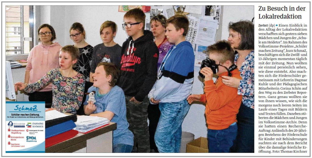 """SchmaZ: Ansicht Volksstimme-Artikel über die Schule """"Am Heidetor"""" Zerbst"""