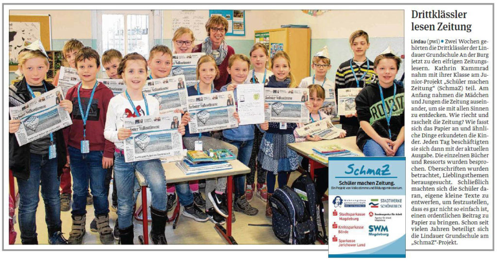 SchmaZ junior: Ansicht Volksstimme-Artikel über die Grundschule An der Burg Lindau