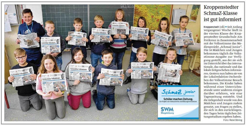 SchmaZ junior: Ansicht Volksstimme-Artikel über die Grundschule am Freikreuz Kroppenstedt