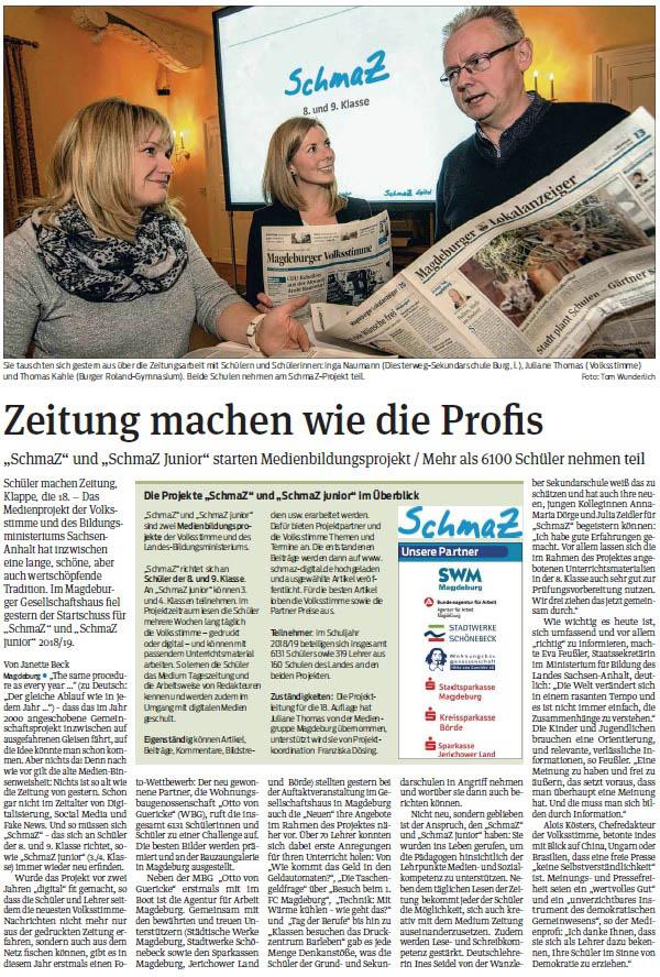 SchmaZ: Ansicht Volksstimme-Artikel über die SchmaZ Auftakt-Veranstaltung