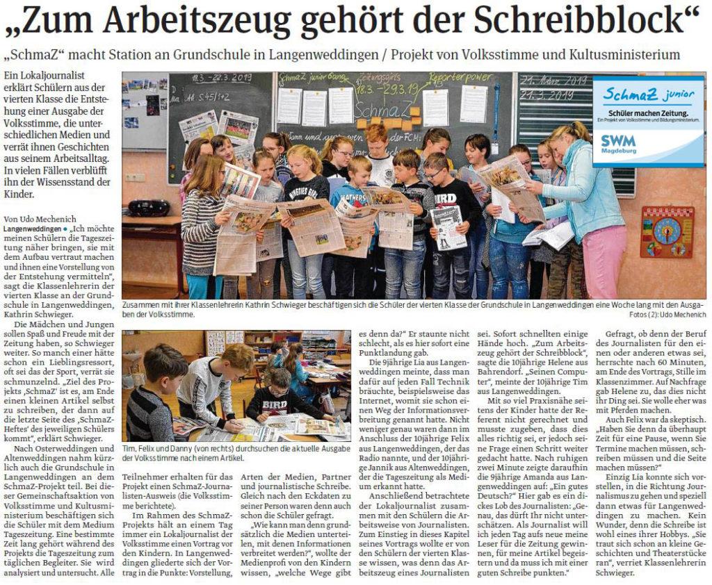 SchmaZ junior: Ansicht Volksstimme-Artikel über die Grundschule Langenweddingen