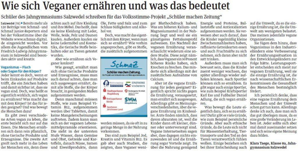 veröffentlichter Schülerbeitrag_Salzwedeler Volksstimme_10.04.2019