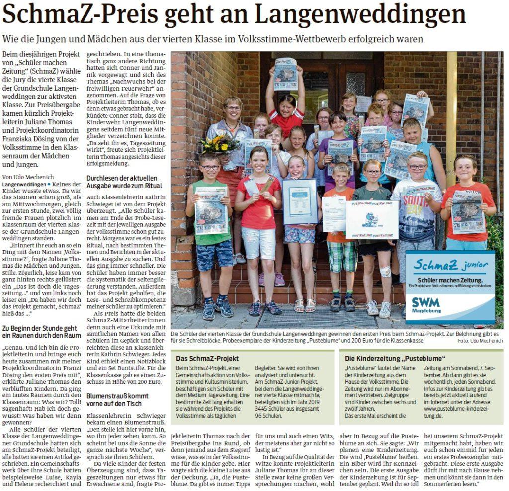 Preisverleihung der aktivsten SchmaZ junior Klasse: die 4. Klasse der Grundschule Langenweddingen
