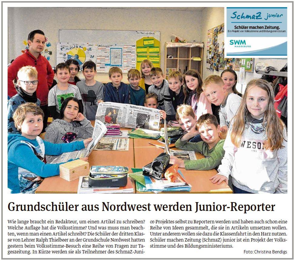 Grundschüler aus Nordwest werden Junior-Reporter, Beitrag aus der Magdeburger Volksstimme 18.01.2020