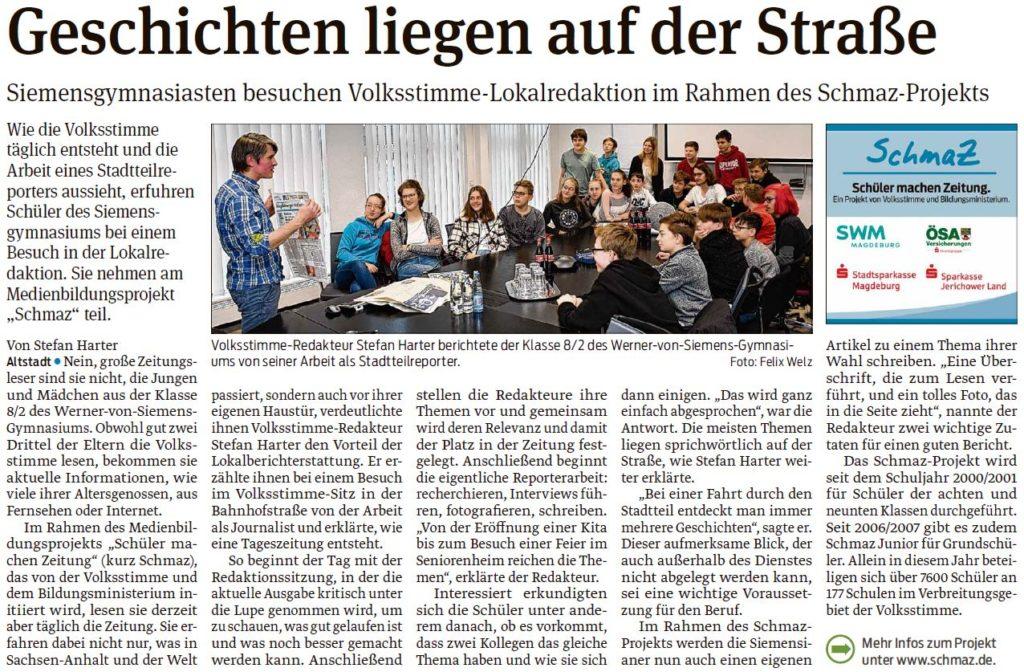 Die Schüler des Werner-von-Siemens Gymnasiums besuchten die Lokalredaktion_Magdeburger Volksstimme 25.01.2020
