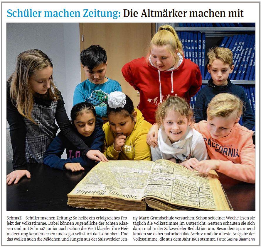 Die Viertklässler der Jenny-Marx-Grundschule waren zu Besuch in der Lokalredaktion_Salzwedeler Volksstimme 22.01.2020