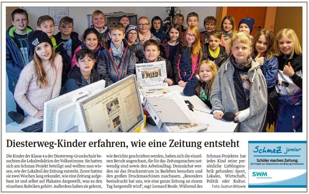 Die Schüler der Diesterweg-Grundschule waren zu Besuch in der Redaktion. Ein Beitrag der Wolmirstedter Volksstimme am 25.02.2020.