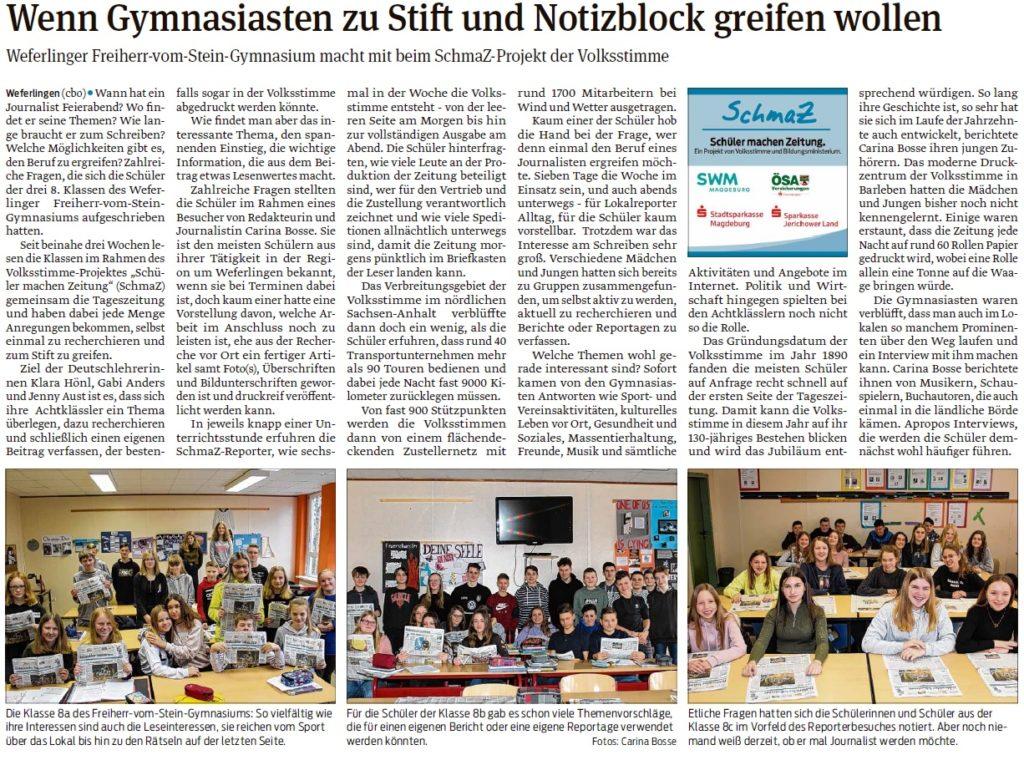 Redakteurin Carina Bosse besuchte die 8. Klassen des Freiherr-vom-Stein-Gymnasiums in Weferlingen. Ein Beitrag in der Haldenslebener Volksstimme vom 06.02.2020