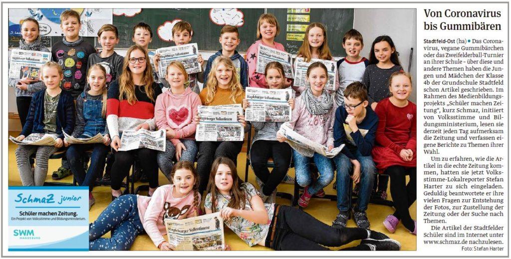 Die Grundschule Stadtfeld hatte Besuch von einem Lokalredakteur. Ein Beitrag der Magdeburger Volksstimme am 26.02.2020.
