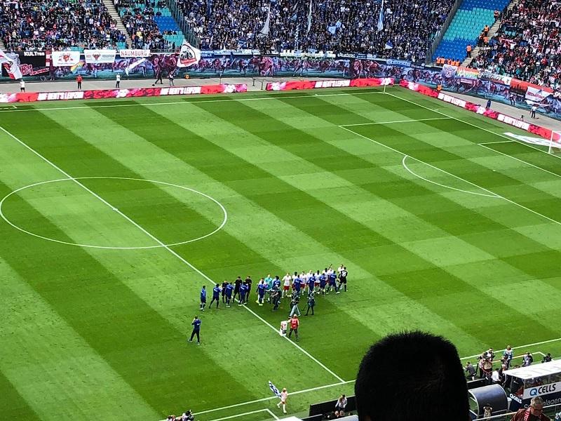 Im Stadion von RB Leipzig kurz vor dem Anpfiff. Foto: Lennard Engelbrecht