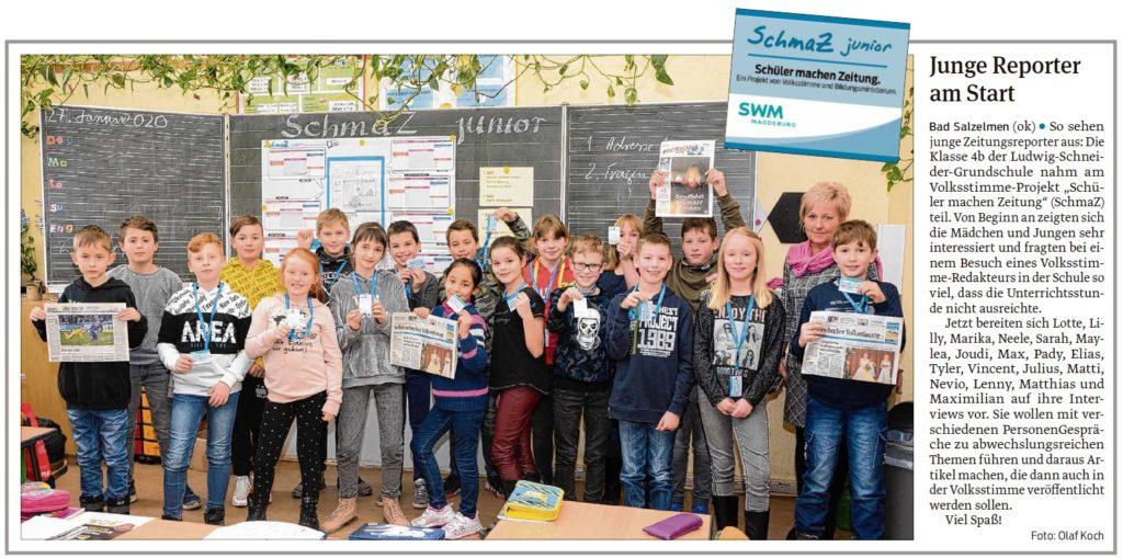 Die Schüler der Ludwig-Schneider-Grundschule hatten Besuch von einem Volksstimme-Redakteur. Beitrag in der Schönebecker Volksstimme am 12.02.2020.