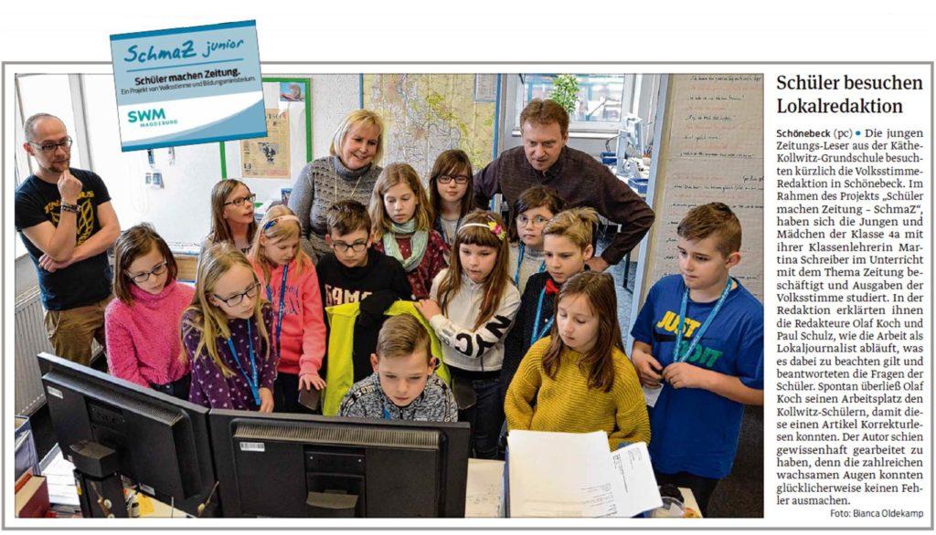Die Schüler der Käthe-Kollwitz Grundschule waren zu Besuch in der Redaktion, ein Beitrag in der Schönebecker Volksstimme vom 14.02.2020