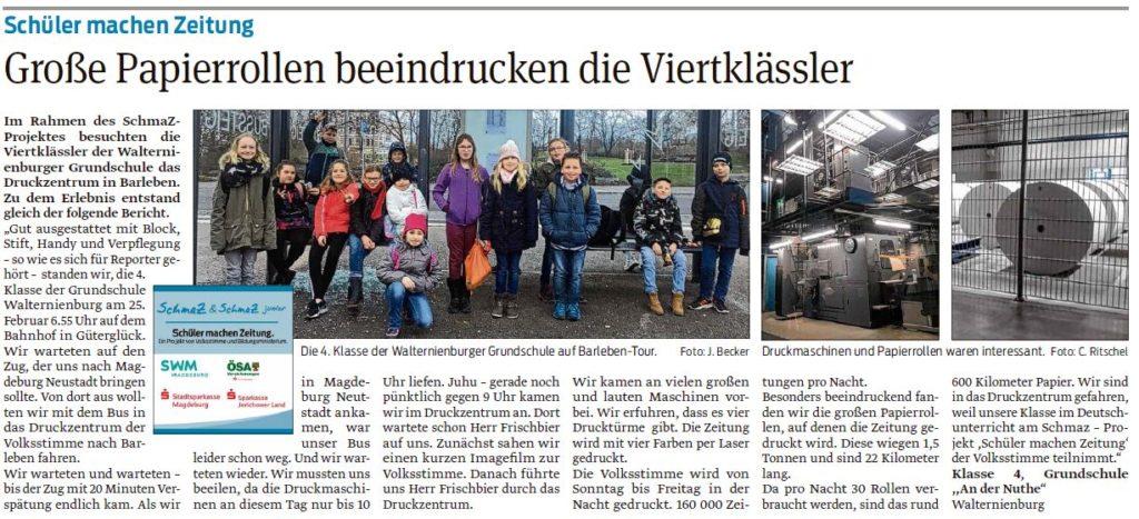 Die vierte Klasse der Grundschule Walternienburg hat einen Artikle über den Besuch im Druckzentrum Barleben verfasst. Beitrag der Zerbster Volksstimme 05.03.2020.