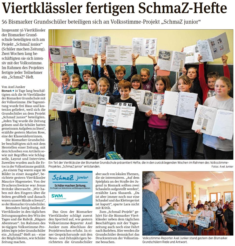 Die Bismarker Grundschüler bekamen Besuch von einem Redakteur. EIn Beitrag in der Stendaler Volksstimme am  06.03.2020.