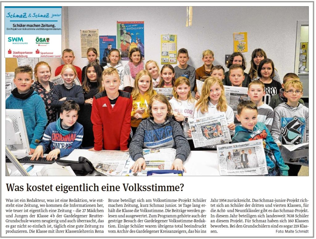 Die Schüler der Gardelegener Reutter-Grundschule waren zu Besuch in der Redaktion. EIn Beitrag der Gardelegener Volksstimme am 11.03.2020.