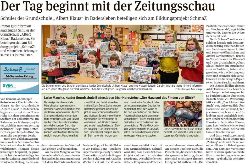 """Die Grundschule """"Albert Klaus"""" in Badersleben beteiligt sich am SchmaZ-Projekt. Ein Beitrag in der Halberstädter Volksstimme am 11.03.2020."""