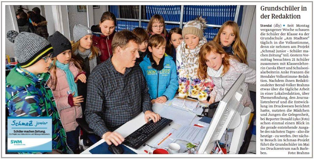 """Die Grundschule """"Am Stadtsee"""" zu Besuch in der Redaktion. Ein Beitrag der Stendaler Volksstimme am 11.03.2020."""