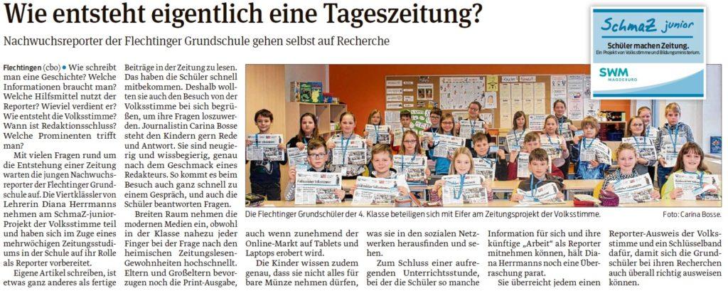 Journalistin Carina Bosse besuchte die 4. Klasse der Flechtinger Grundschule. Ein Beitrag der Haldensleber Volksstimme am 07.03.2020.