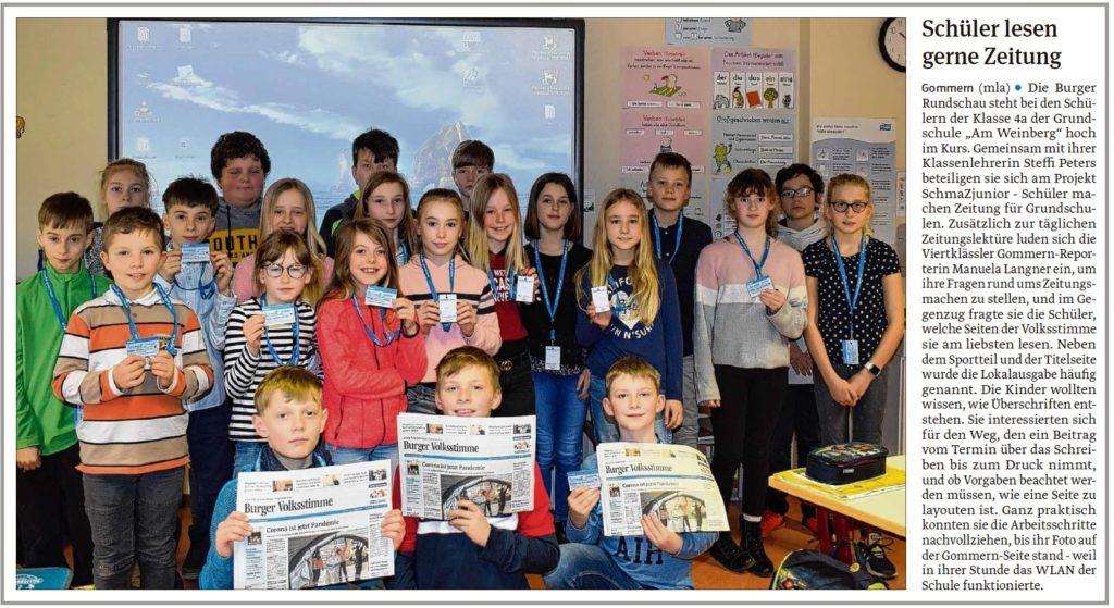 Die Klasse 4a der Grudschule Gommern bekam Besuch von Reporterin Manuela Langner. Ein Beitrag der Burger und Zerbster Volksstimme am 19.03.2020.